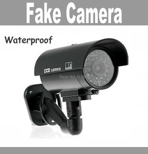 Fake camera Dummy Emulational camera cctv camera bullet waterproof outdoor use for home security with flash LED Free Shipping