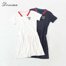 2017 Summer Embroidery Polo Shirt Dress Female Short Sleeve Knitted Dresses for Girls Dark Blue Mini Dress White Vestidos Mujer