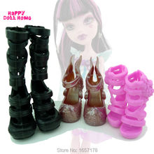 3 Pairs/Lot Mixed Style Plastic Cute Shoes For Monster High Doll DIY Accessories Toys High Heels Sandals Kids Play House Gift