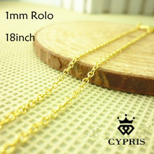 WHOLESALE Price Chain 20pc/lot yellow Chain Necklace 1mm 18inch Rolo Chain For Pendant bulk lot jewelry findings accessory