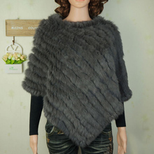 Autumn Winter Ladies' Genuine 100% Real Knitted Rabbit Fur Poncho Triangle shawl Women Natural Fur Pashmina Wrap Female Pullover