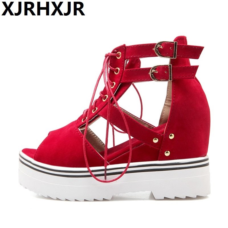 Plus Size 34-43 Women Shoes Fashion Buckle Platforms Wedges Ladies Casual Shoes Summer Open Toe Sandals Female High Heels Wedges<br>
