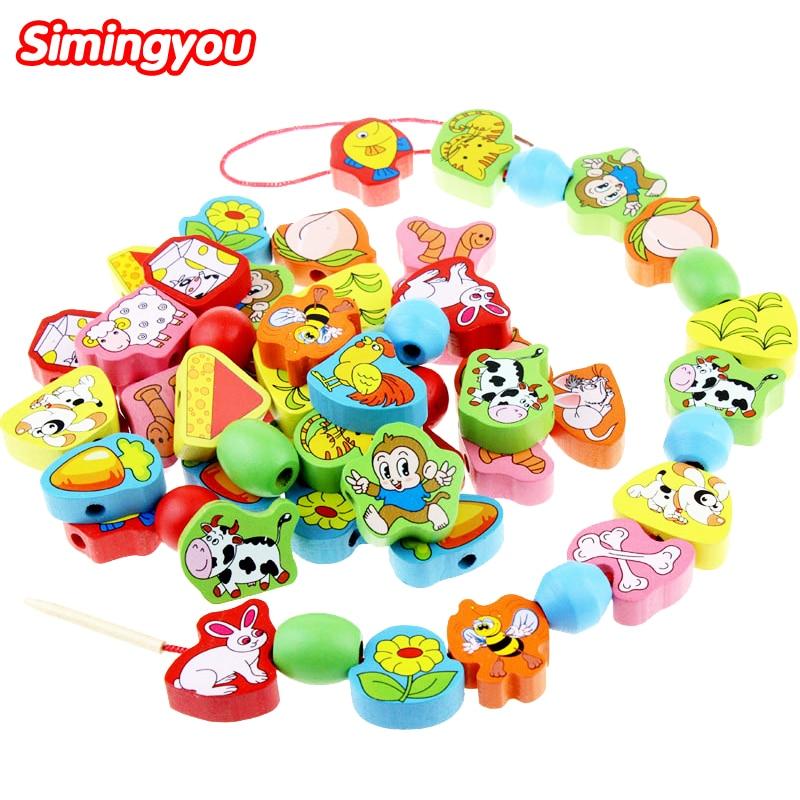 Simingyou kids Wooden Toys Montessori Educational Geometric Cartoon Animal Blocks Beads Birthday Gift WZQ3  <br><br>Aliexpress