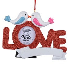 Maxora Love Resin Glitter Pigeon Picture Frame Write name As Personalized Christmas Ornaments Gifts(China)