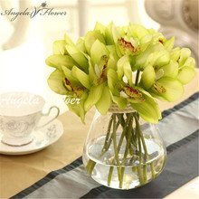 Real Touch cymbidium 6 heads Short shoot table decoration flower DIY wedding bride hand flowers home decor artificial orchid