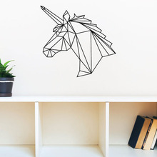 DCTOP Living Room Decoration Geometric Unicorn Wall Sticker Creative Art Design Removable Vinyl Adhesive Wall Murals(China)