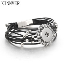 Unisex Vintage Magnet Buckle PU Leather Pulseras 18mm Metal Snaps Button Bracelet Christmas Gift Charm With Beads ZE404(China)