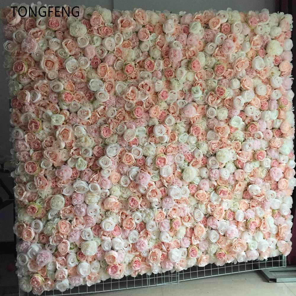 TONGFENG 10pcs/lot MIXCOLOR Wedding 3D flower wall flower runner wedding Artificial silk rose peony wedding backdrop decoration