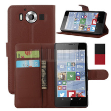 Phone Case For Nokia Lumia 950XL 5.7 inch Luxury Leather card Wallet Flip Case Stand Cover Lychee Grain Skin (Not For Lumia 950)
