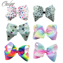 7 Inch Large printed Hair Bow Butterfly Polka Dots Rainbow Hairpin Big Hair Clip Handmade Hair Accessories For Kids