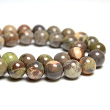 Wholesale AAA+ Natural Ocean Jasper Round Stone Beads For jewelry Making DIY Necklace Bracelet 4/6/8/10/12 mm Strand15.5''