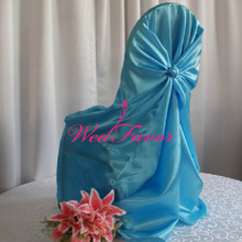 WedFavor 100pcs Turquoise Universal Satin Wedding Self Tie Chair Covers Pillowcase Chair Covers For Hotel Event Decoration(China)
