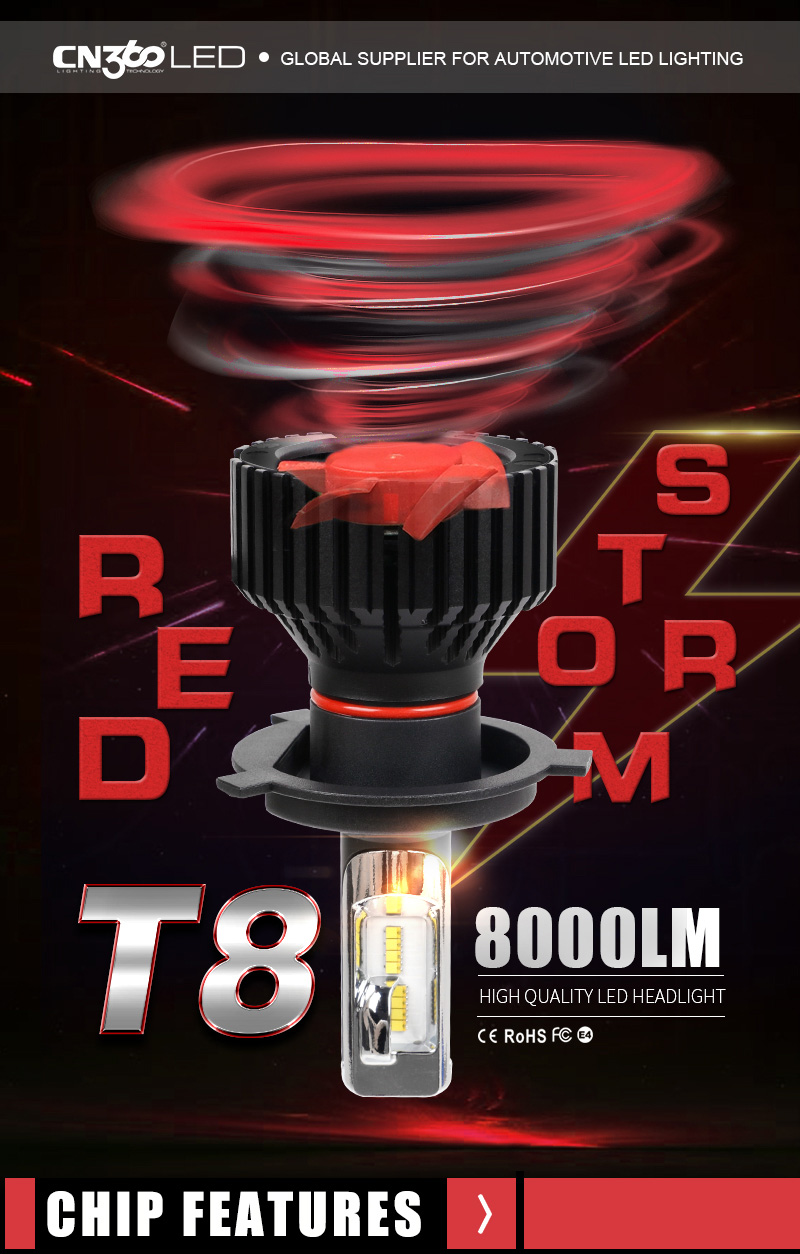 CN360 2PCS Car LED Light Headlight H4 H7 H8 H9 H11 9005 HB3 9006 HB4 12V 6500K LED Auto Bulb Headlamp Fog Lamp 60W 8000LM 1