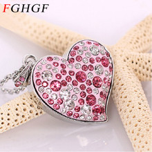 FGHGF Diamond crystal heart USB Flash drive Love heart Necklace Memory Stick Pen Drive pendrive 4GB/8GB/16GB/32GB(China)