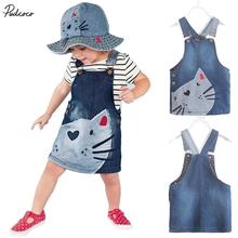 2017 Hot New year hello kitty dress 1 Piece Baby Girls Kids Cat dress Denim Overalls Dresses Braces Clothes For Age 2-7 Years