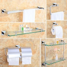 Wall Mount Brass Chrome Bathroom Accessory Sets, 6-piece Bath Collection Set Towel Bars Robe Hooks Towel Shelf Paper holder(China)