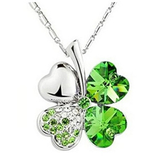 Necklaces & Pendants Jewelry Green Clover Long Necklace For Women Alloy Silver Chain Heart Rhinestones  Gift For Girl 360573