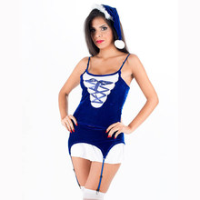 2017 New Arrival Santa Outfit Hot Sexy Unusual Blue Lace-up 3pcs Furry Christmas Costume with Hat Cosplay Fancy Dress W4029(China)