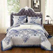 bedding set silk cotton jacquard luxury stain bed set bed cover spring sheet 4/6pcs/set Queen king duvet set cover bed bedclothe(China)