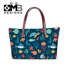 Dispalang 3D printing cartoon sea animals women's casual tote fashion female beach bags for girls famous designer lady party bag(China)