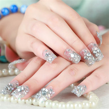 24Pcs False Nails Tip in Box Wedding Bride Nails Stickers Full Cover Acrylic Fake Nail Best Deal Finger Fingernail Cover