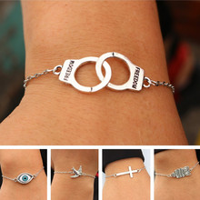 Charm Bracelets For Men Women Retro Jewelry Link Chain Bracelet Bangle Cross Heart Handcuff Love Peace Eye Valentine's Day Gift(China)