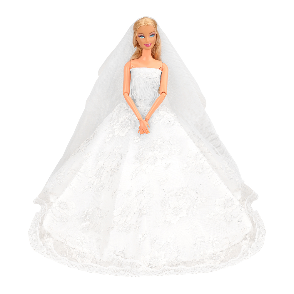 White Gorgeous Wedding Dress Princess Gown Clothes Veil Barbie Dolls Gift