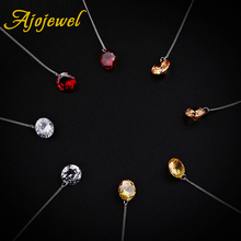 Ajojewel Trendy Elegant Multicolor Round Zirconia Ear Chain Long Earrings For Women Bijoux Bridal Wedding Jewelry
