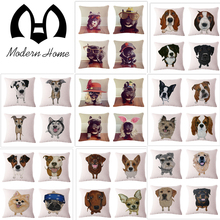 MH   36 pictures  High Quality Invisible Zipper Linen creative dogs  Pillow Cover nap pillow Home car decorative Cushion Cover