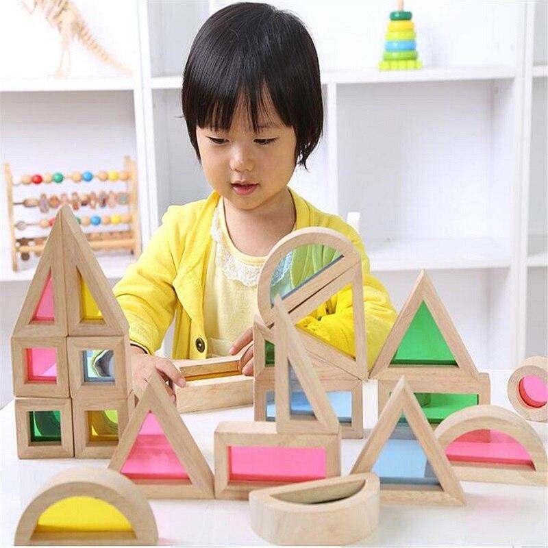 Wooden toy Kids Soft Montessori Rainbow Colorful Wooden Building Blocks Toy Set 24PCS 6 Shape 4 Translucent Colours<br>