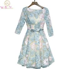 Walk Beside You vestido de formatura Prom Dresses 3/4 Sleeve Lace Sweet Colorful Evening Knee Length Party Graduacion Gowns Real
