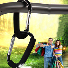 High Quality Aluminum Alloy Baby Trolley Hook Buggy Clip Safety Buckle Handbag Hook With Sponge Climbing Button Carabiner 1PCS