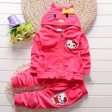 Baby Girls Boys Hello Kitty Tracksuits Clothing Set Children warm Velvet Thicken Hooded Jacket Sweatshirts Pants 2pcs Kids Suit(China)