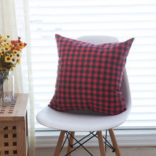 Red Black Plaid Printed Cushion Cover Office Sofa Decorative Waist Pillow Cover Linen&Cotton Capa De Almofada 45x45cm 60x60cm