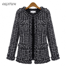 Autumn winter Hot women jacket Slim thin  checkered Tweed coat Large size casual O-Neck Plaid Jacket with pocket loose outwear