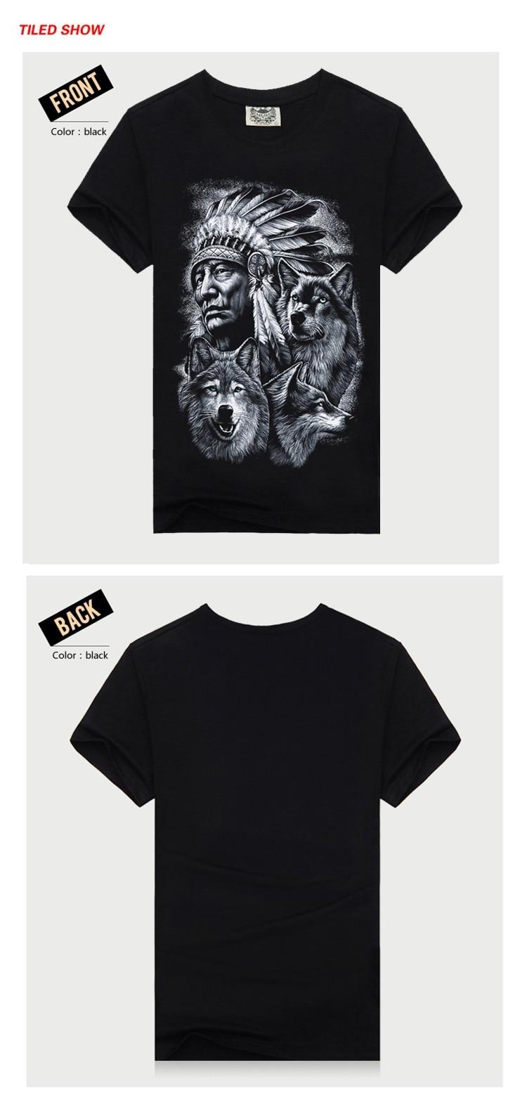 Rocksir 3d wolf t shirt mens Brand 3D Indians wolf Print t shirts Cotton wolves Men t-shirt Casual Man Tees Mens Tops 3