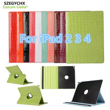 Tablet Case for iPad 234 360 Rotation Flip PU Leather Crocodile Case for iPad 234 Smart Cover Case With Stand Function SZEGYCHX(China)