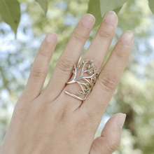 1pc 925 Sterling Silver Ring Vintage Life Tree Element Women Pure Silver Ring Mori Fresh Drop Glaze Green Leaves Open Rings P30(China)