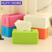 Huiyi Home Adjustable Plastic Tissue Box Holder Home Organizer Office Decoration Accessories Napkin Paper Case Decor EKE058(China)