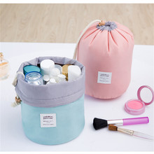 6 colors Nylon Barrel Shaped Travel Toiletry Cosmetic Bag Makeup Organizer Storage Bag For Drawstring Elegant Drum ALGN053