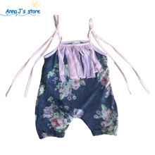 PPY-221 New floral chintz child overalls vintage girl sliders lace floral newborn overalls for children, baby's clothing 0-18M(China)