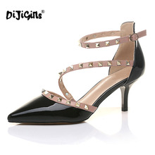 DIJIGIRLS NEW woman High heels shoes Ladies Sexy Pointed Toe pumps Buckle rivets nude heels dress wedding shoes(China)