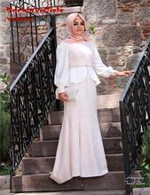 2016 Mermaid 2 Two Piece Muslim A line Long Sleeves Lace Hijab Islamic Abaya in Dubai Kaftan New Evening Gowns Dress Dresses