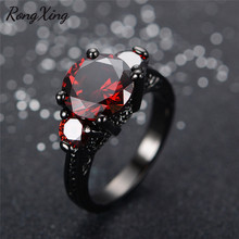 RongXing Classic Round July Birthstone Rings For Women Wedding Birthday Gift Vintage Black Gold Filled Red Zircon Ring RB0001