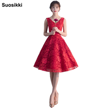 V-neck lace flower prom dresses 2017 Suosikki elegant open back formal evening party dress gown fata vestidos de noiva(China)
