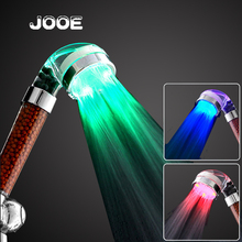 Jooe ducha LED shower head Anion SPA showerhead Temperature sensor 3 Colors 7-color Flash ABS Shower Filter bathroom accessories(China)