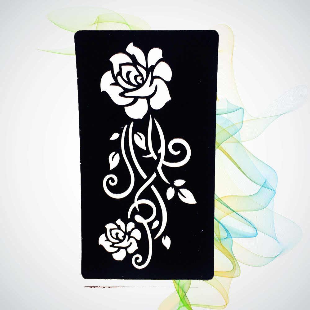 Women Henna Mehndi Rose Flower Hollow Tattoo Stencils Girl Body Art  Waterproof Tattoo Template Sticker Paste Body Art HG152
