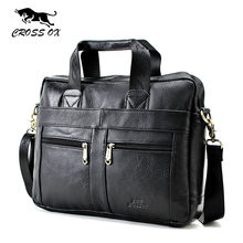 CROSS OX Genuine Leather Men Briefcase Man Bags Business Laptop Tote Bag Men's Crossbody Shoulder Bag Men's Travel Bags HB373M(China)