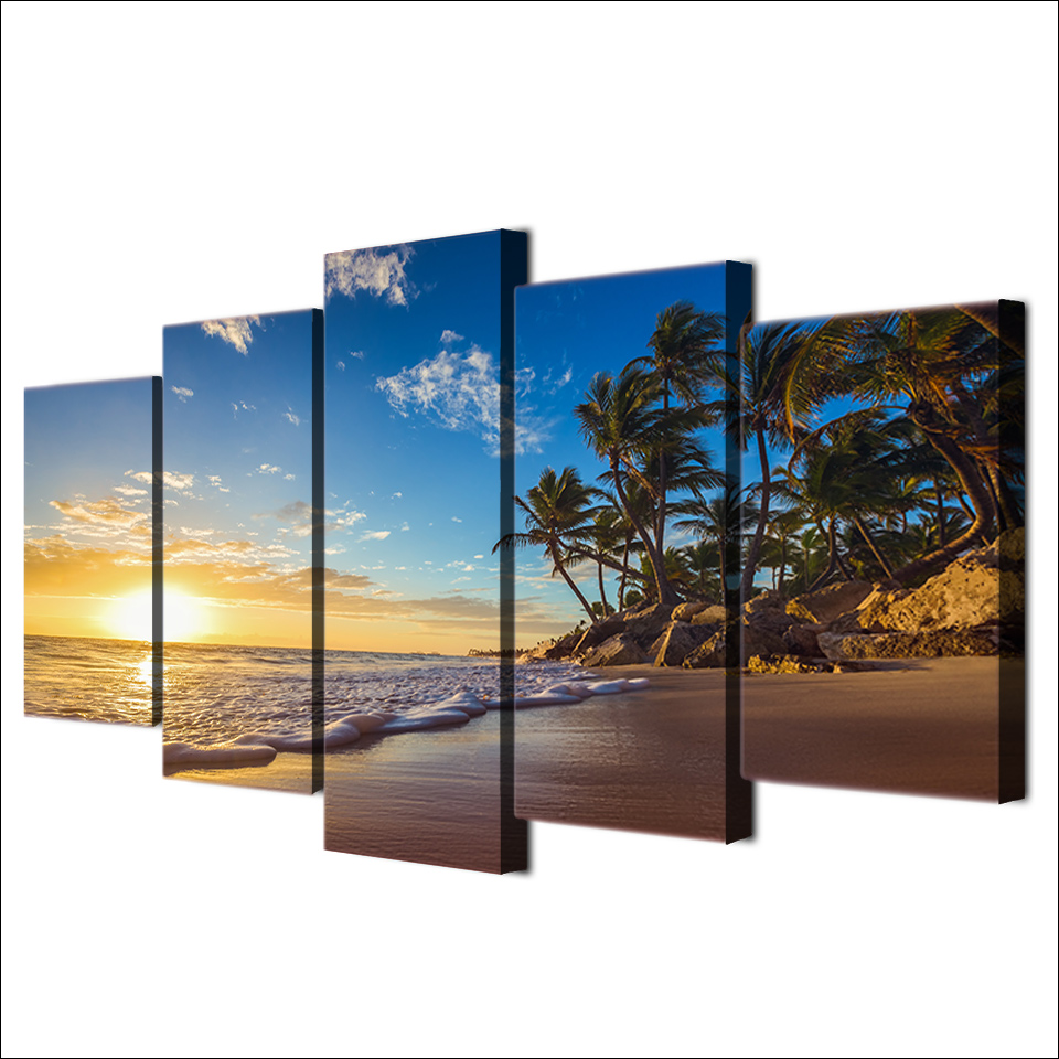 5-piece-canvas-art-HD-print-sunset-tropical-beach-palm-tree-painting-paintings-for-living-room (1)