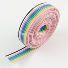 2M Meter / 6.6FT 1.27mm Pitch 8 Way Wire Conductor Rainbow Color IDC Flat Ribbon Cable For 2.54mm FC Connector